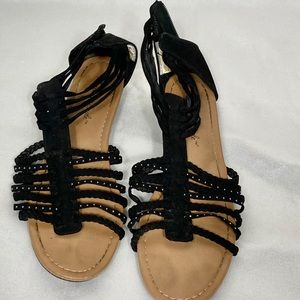 American Eagle black ankle strappy sandals 9